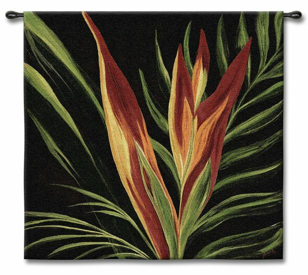 Tropical Bird Of Paradise Abstract Floral Art Tapestry