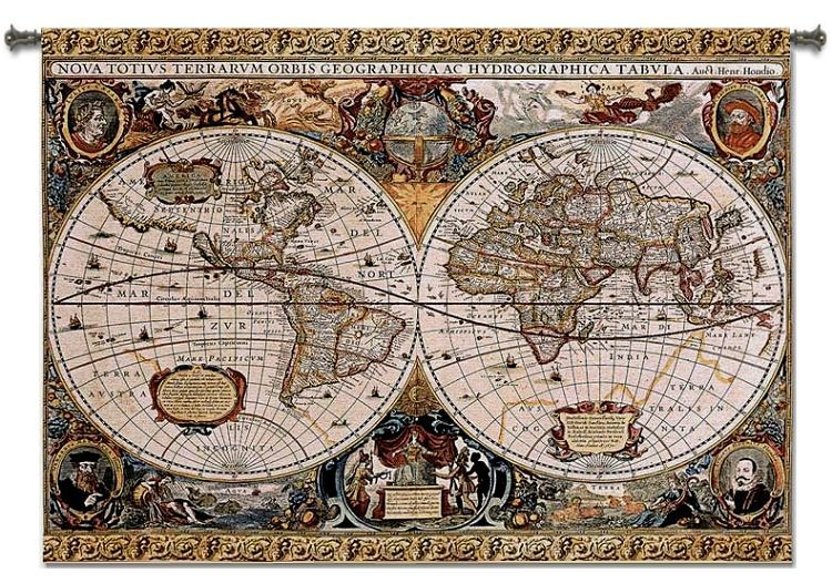 VINTAGE ANTIQUE OLD WORLD MAP GEO ART TAPESTRY WALL