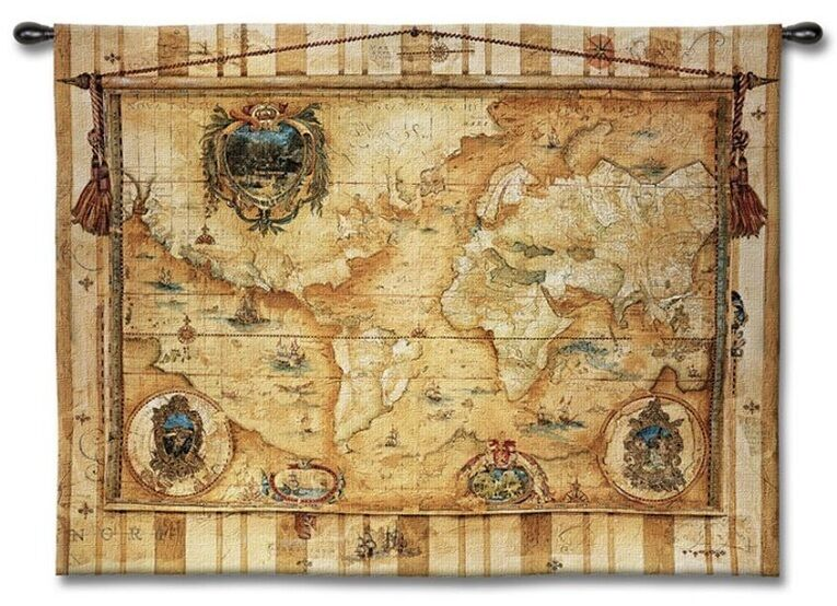 Vintage Voyage Old World Map Art Tapestry Wall Hanging