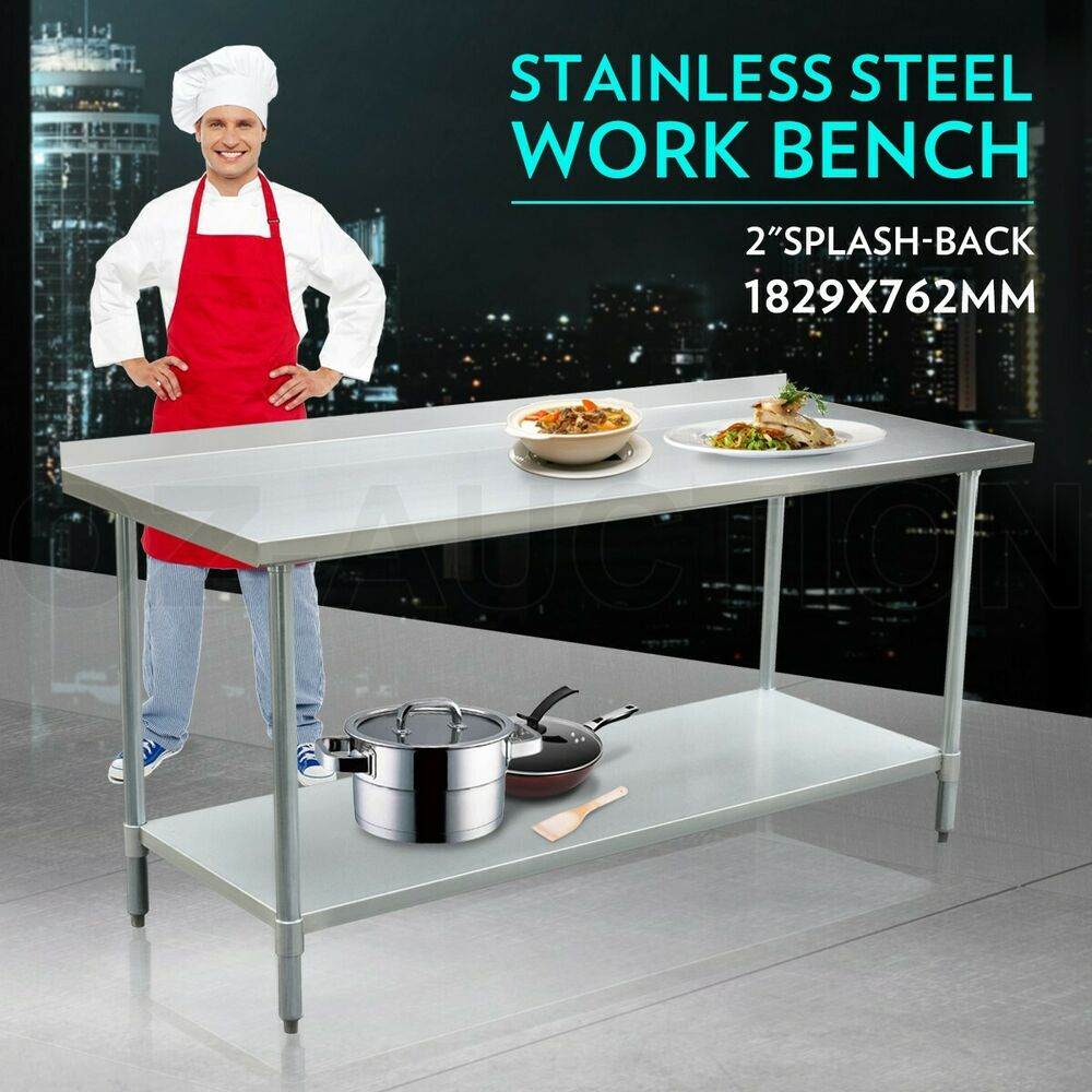 Details about 183cm x 76cm stainless steel kitchen work bench food prep catering table 1 8m