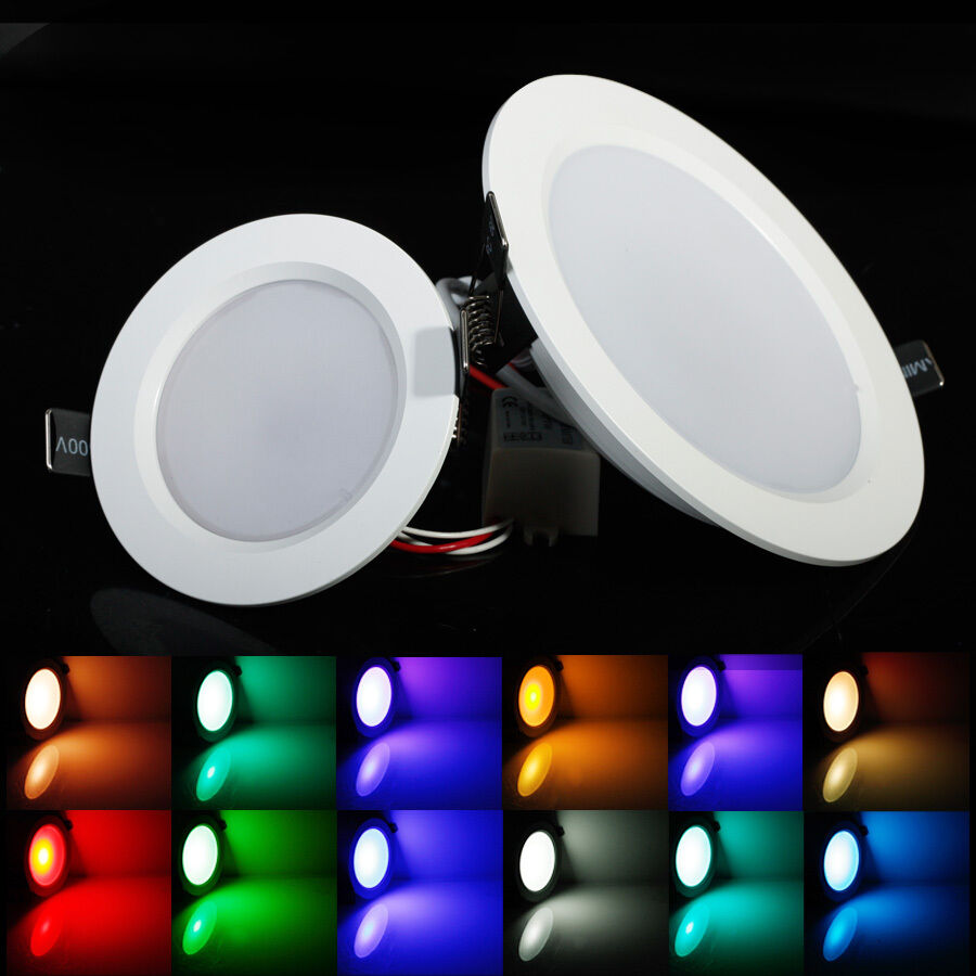 color changing rgb 5w 10w downlight led recessed ceiling panel light ir remote ebay. Black Bedroom Furniture Sets. Home Design Ideas