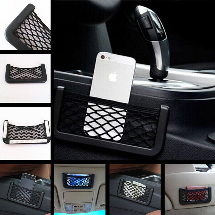 auto car black storage net string pouch bag gps phone holder pocket organizer ebay. Black Bedroom Furniture Sets. Home Design Ideas
