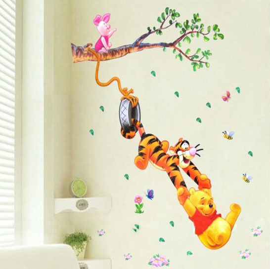 kinderzimmer deko winnie pooh tigger blumen wand sticker aufkleber deko ebay. Black Bedroom Furniture Sets. Home Design Ideas