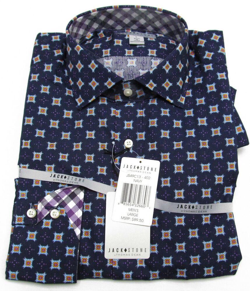 Jack Stone By Thomas Dean Mens Navy Blue Button Down Sport