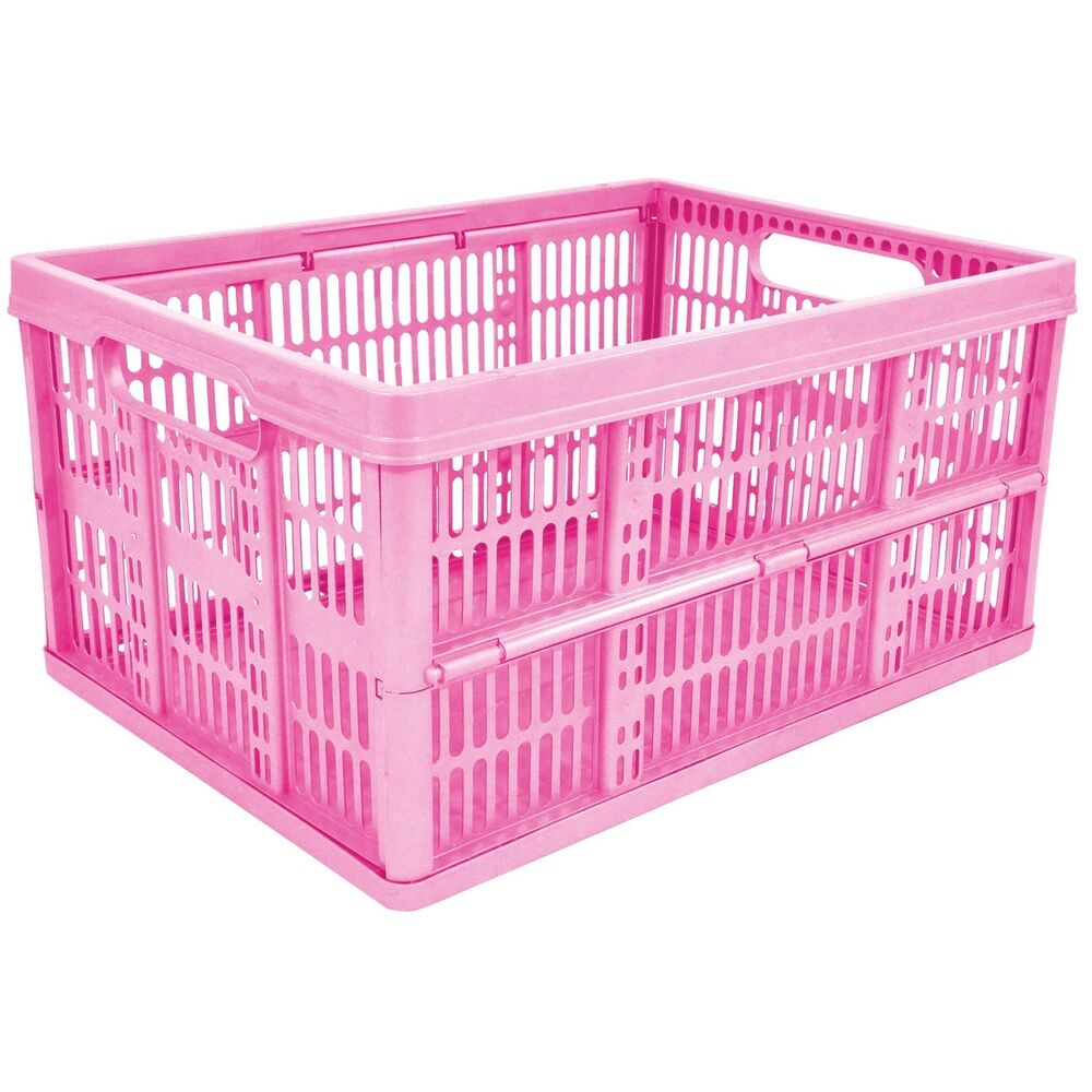 32l plastic folding storage container basket crate box stack foldable pink ebay. Black Bedroom Furniture Sets. Home Design Ideas