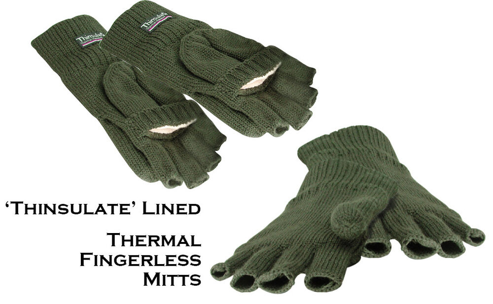 Thinsulate fingerless warm thermal gloves mitts for for Winter fishing gloves