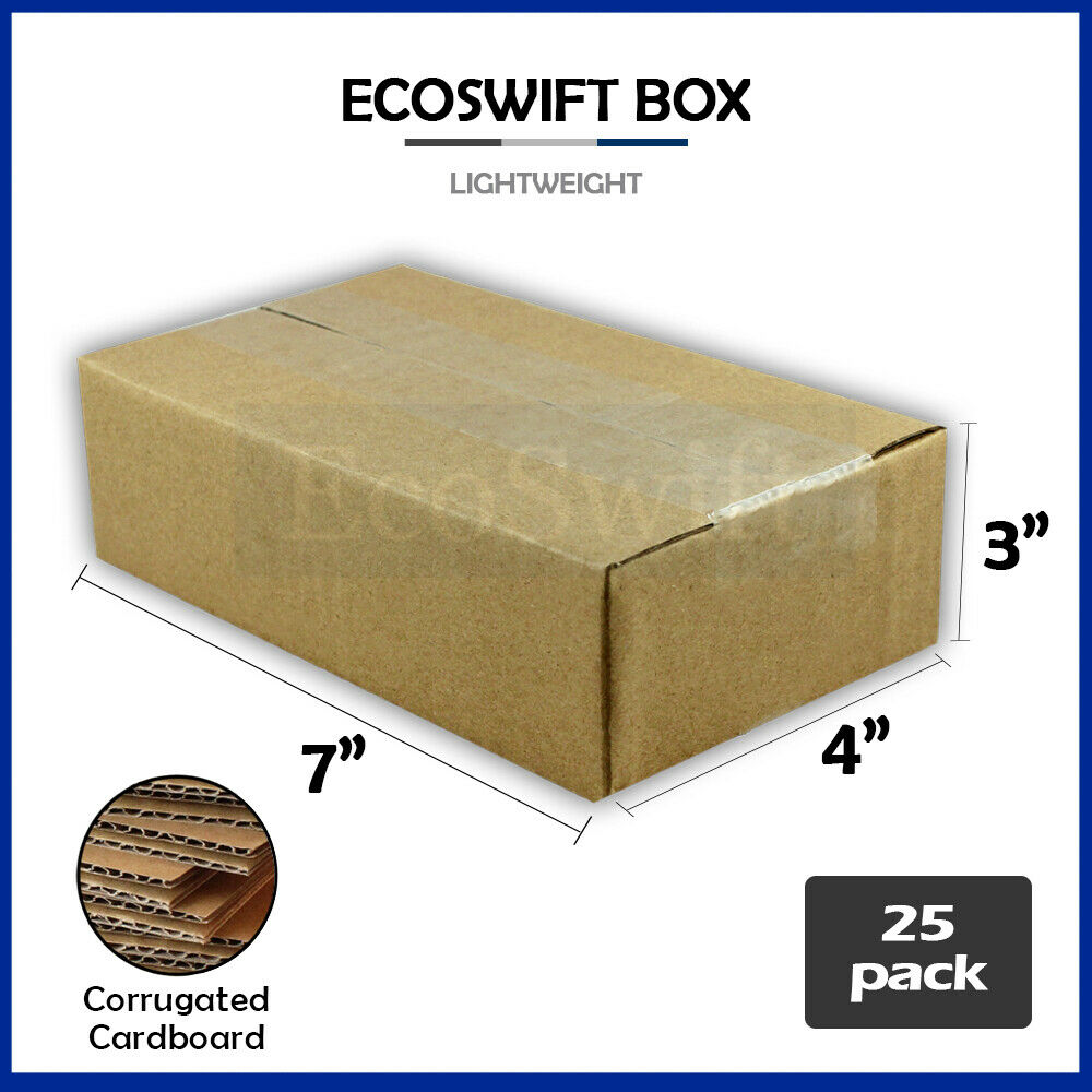 25 7x4x3 cardboard packing mailing moving shipping boxes corrugated box cartons ebay. Black Bedroom Furniture Sets. Home Design Ideas