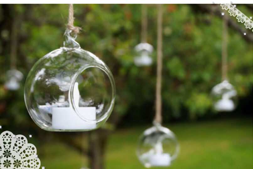 4pcs christmas glass bauble tealight candle tree hanging for Tree decorations for garden