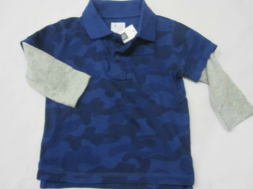 Nwt boys baby gap blue camo layered long sleeve polo shirt for Toddler boys polo shirts