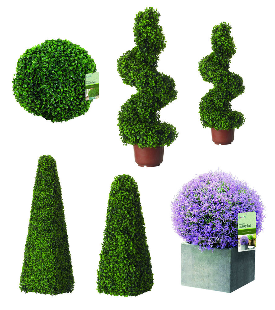 Artificial topiary trees buxus balls hanging boxwood for Garden topiary trees