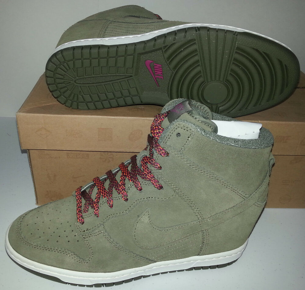 nike dunk sky hi high top olive suede wedge shoes boots