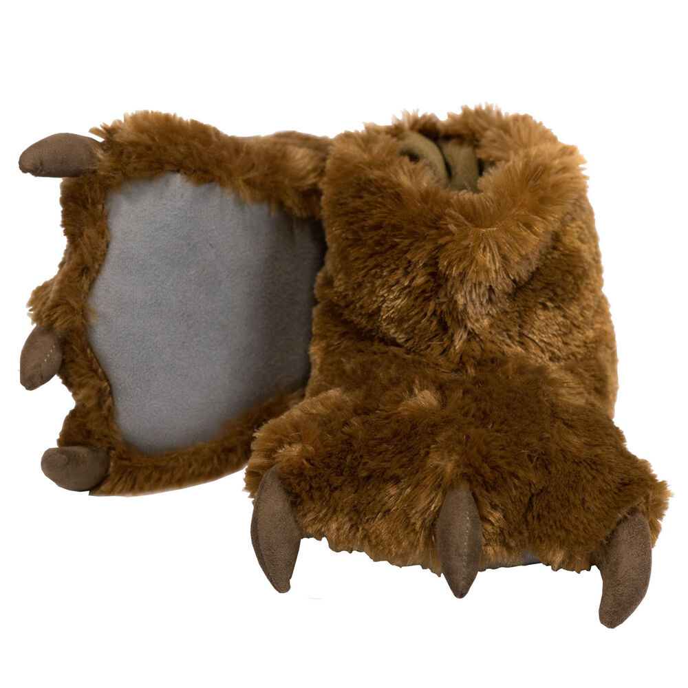 Norty Grizzly Bear Stuffed Animal Claw Slippers - Plush Paw Slippers - Furry Fuzzy Soft Plush Animal Slippers - Toddlers Kids Mens and Womens Adults - Fun Costume Play, Halloween & Everyday Wear. Product - Happy Feet Mens and Womens
