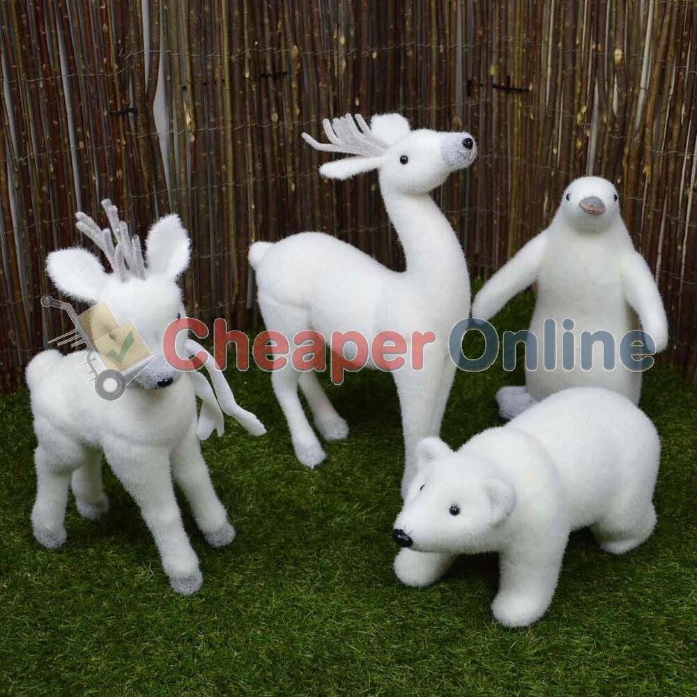 Indoor christmas snow animal statue decoration reindeer for Animal decoration