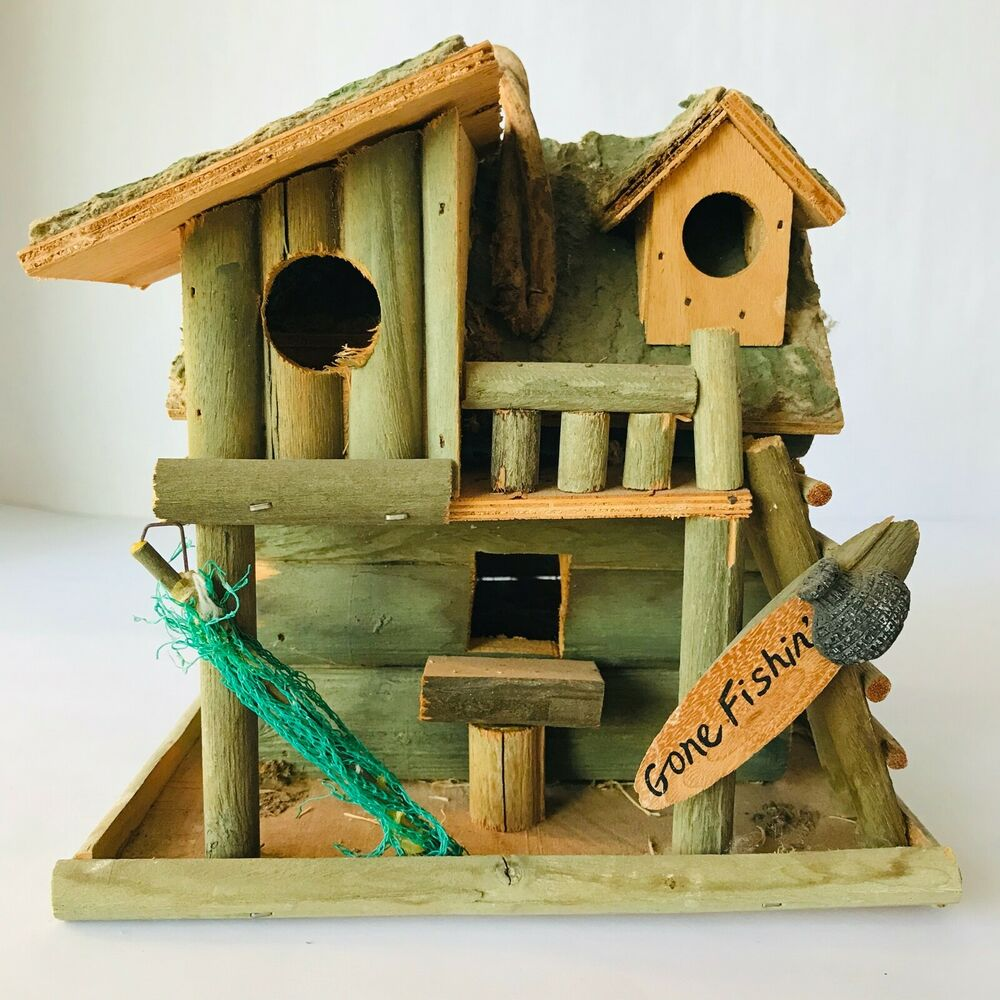 Fishing cabin decorative bird house 8 x 8 x 7 very rustic for Bird home decor