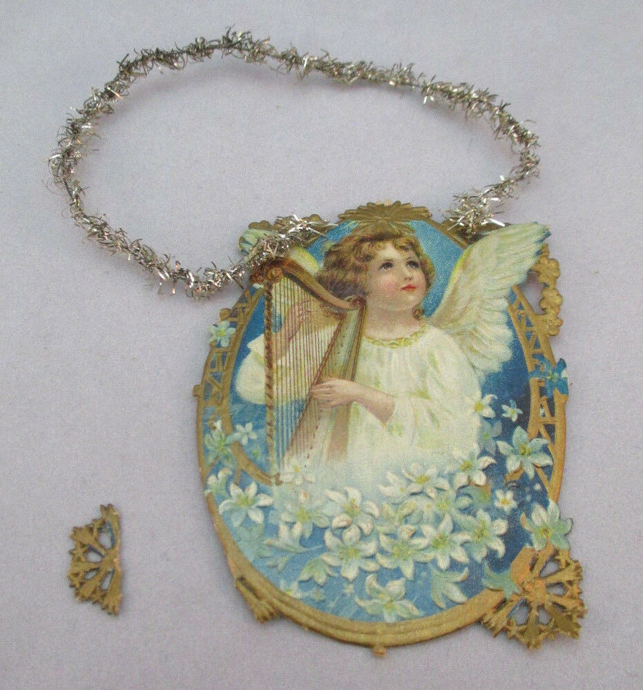 Victorian Christmas Decorations Shop Collectibles Online Daily: VINTAGE VICTORIAN CARD ANGEL PLAYING THE HARP CHRISTMAS