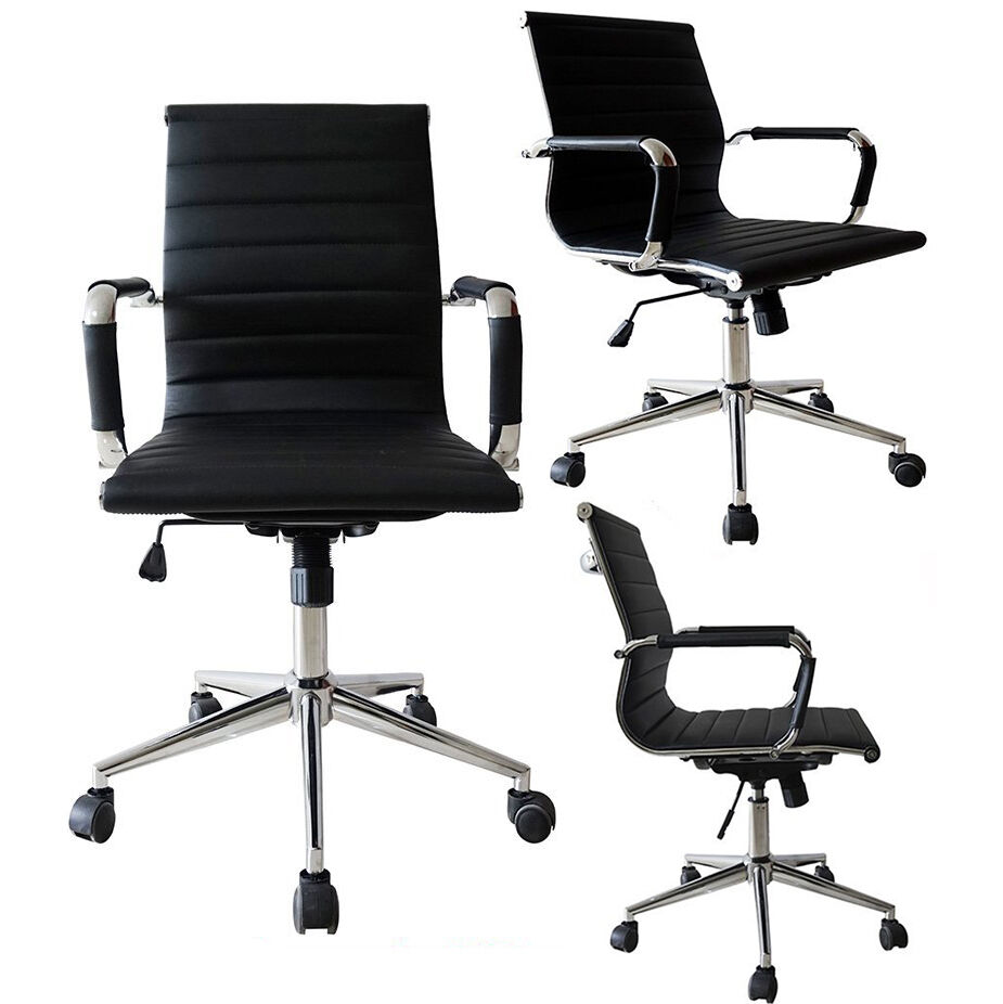 BLACK Mid Back Ribbed PU Leather Office Chair Conference Room Tiltable Swivel