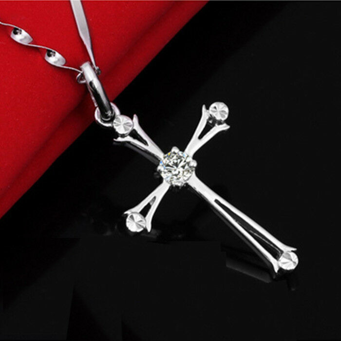 Womens Jewelry Silver Cross Crystal Charm Chain Necklace ...