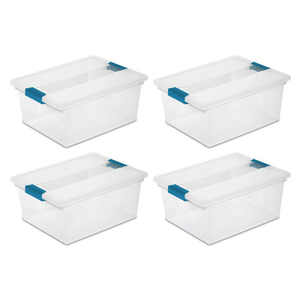 sterilite deep clip box clear plastic storage tote container with lid 4 pack 744271320930 ebay. Black Bedroom Furniture Sets. Home Design Ideas