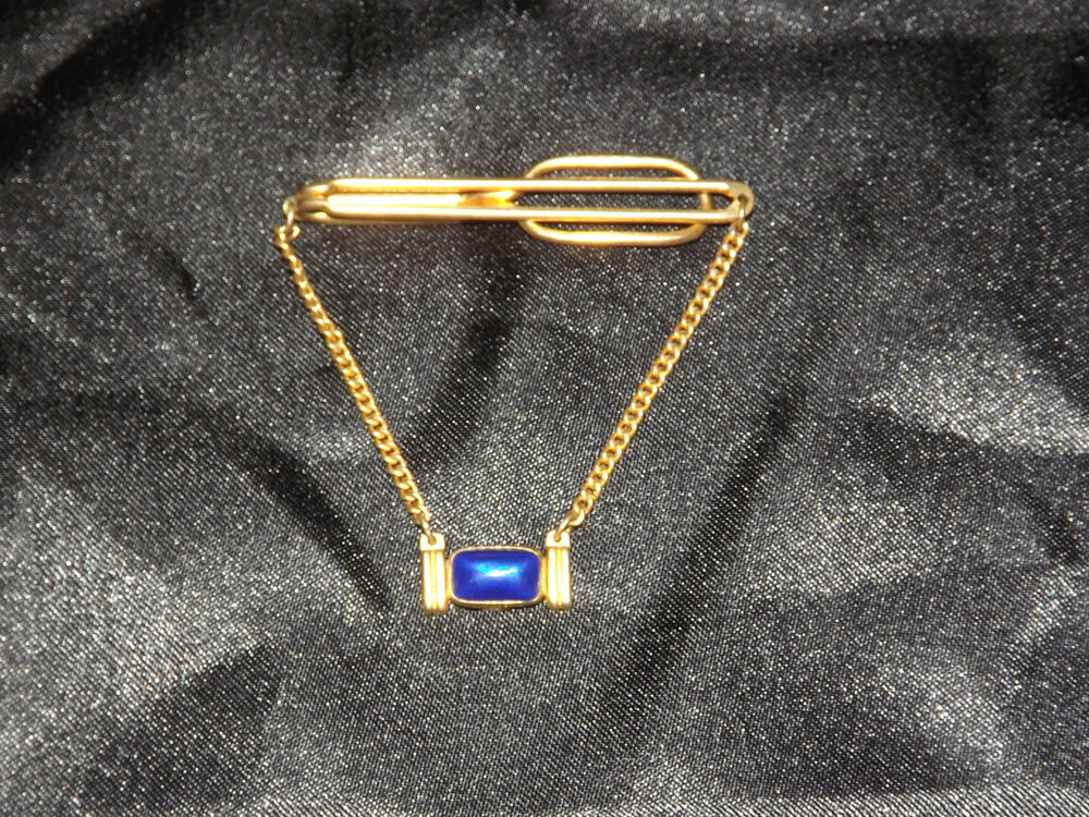 Vintage men 39 s jewelry swank blue stone tie clasp ebay for What is swank jewelry
