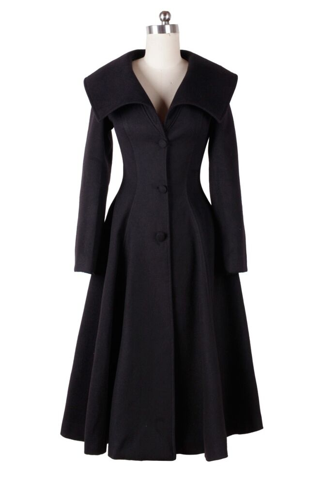 50's Vntage lapel Skirted trench coat wool blend plus SIZE ...
