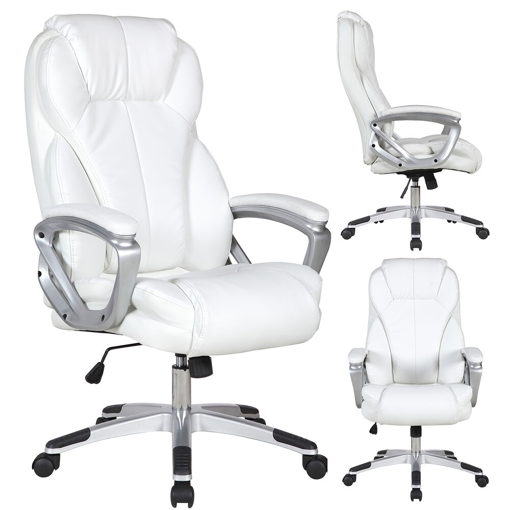Executive Manger PU Leather Office Chair WHITE High Back Desk