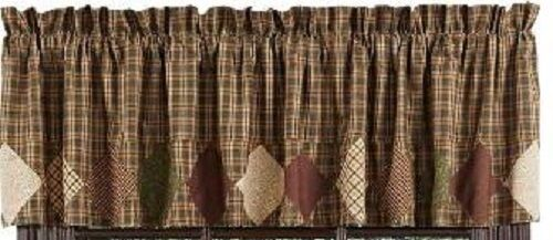Primitive Barrington Border Block Valance Rustic Green