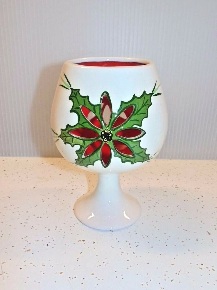 Mid Century Vintage Christmas Art Pottery Candle Holder