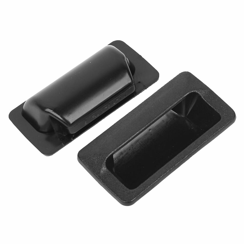 2 Pcs Black Plastic Recessed Flush Pull Door Finger Insert
