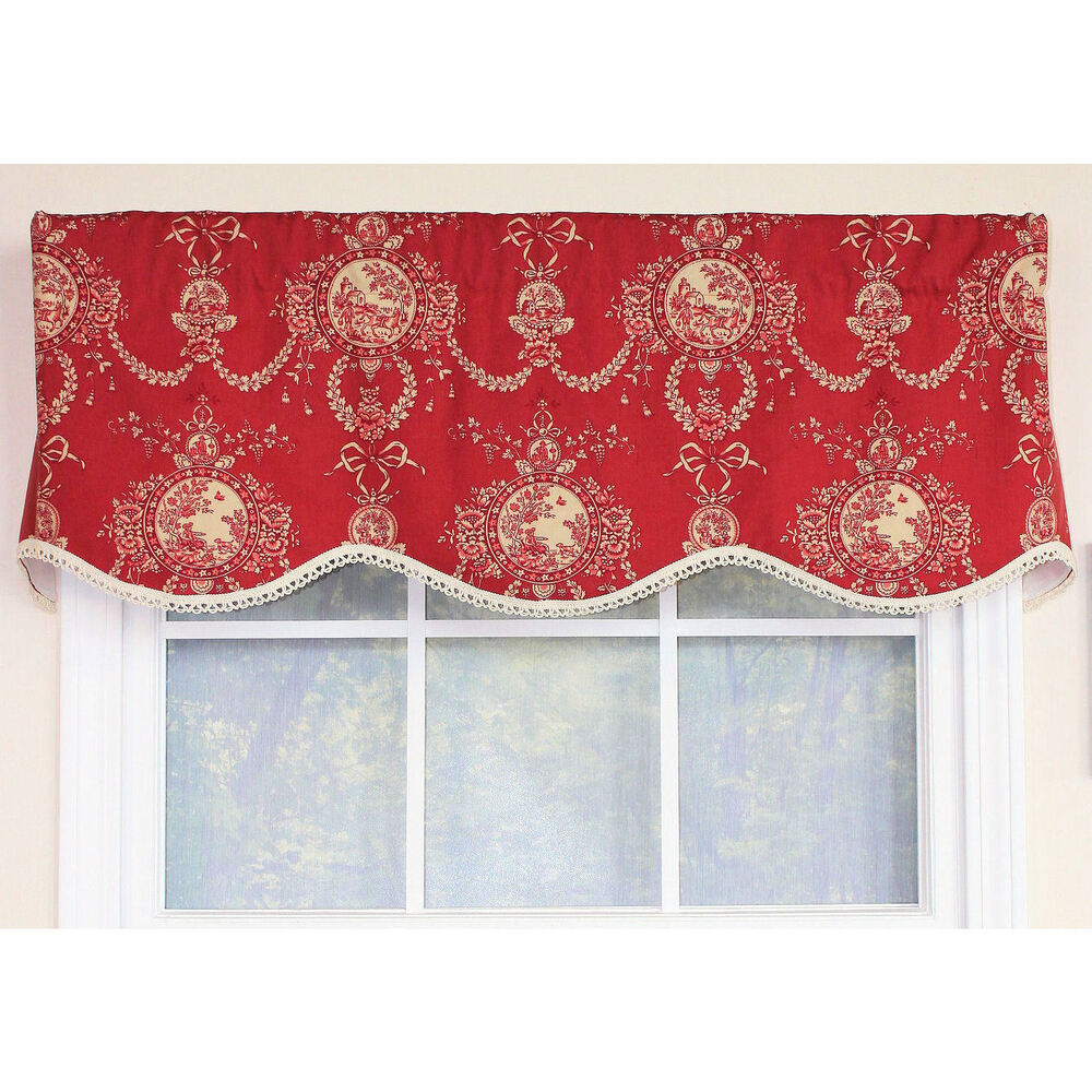 Cameo Toile Crimson Provance Window Valance Ebay