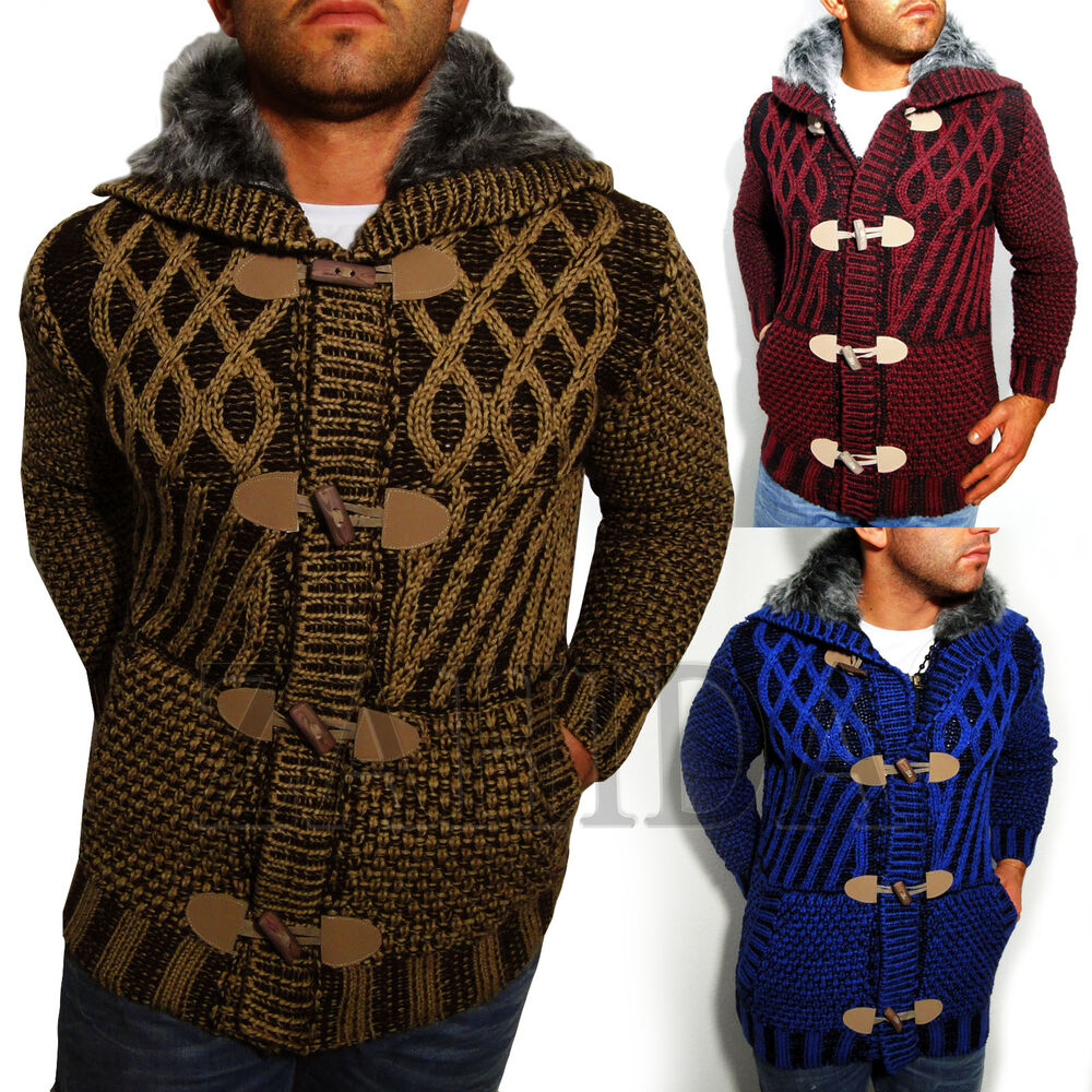 YOUNG & RICH Mens Knitted Hooded Sweater Hoodie Fair Isle ...