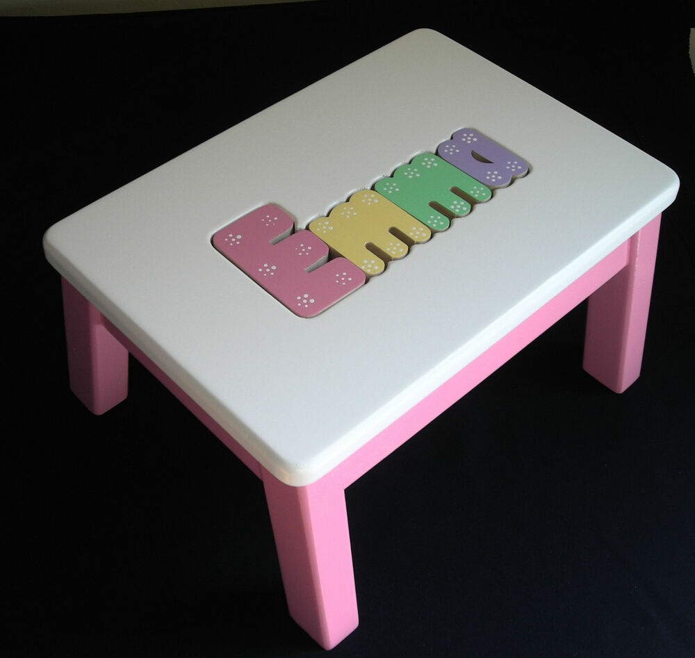 Personalized Wooden Name Puzzle Step Stool Hot Pink Ebay