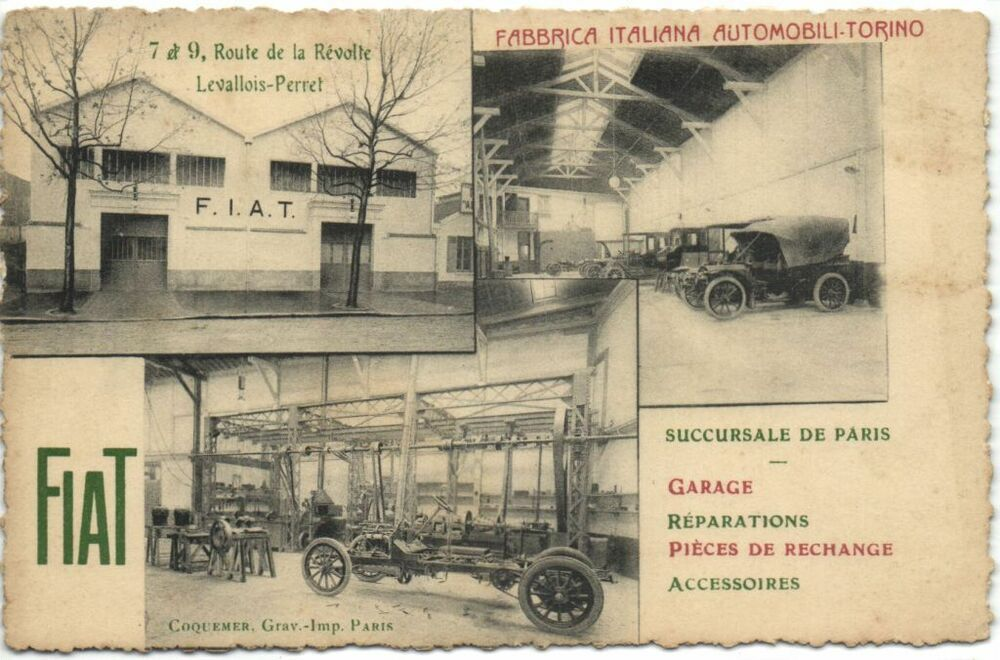 fiat automobiles advertising garage paris vintage postcard rare ebay. Black Bedroom Furniture Sets. Home Design Ideas