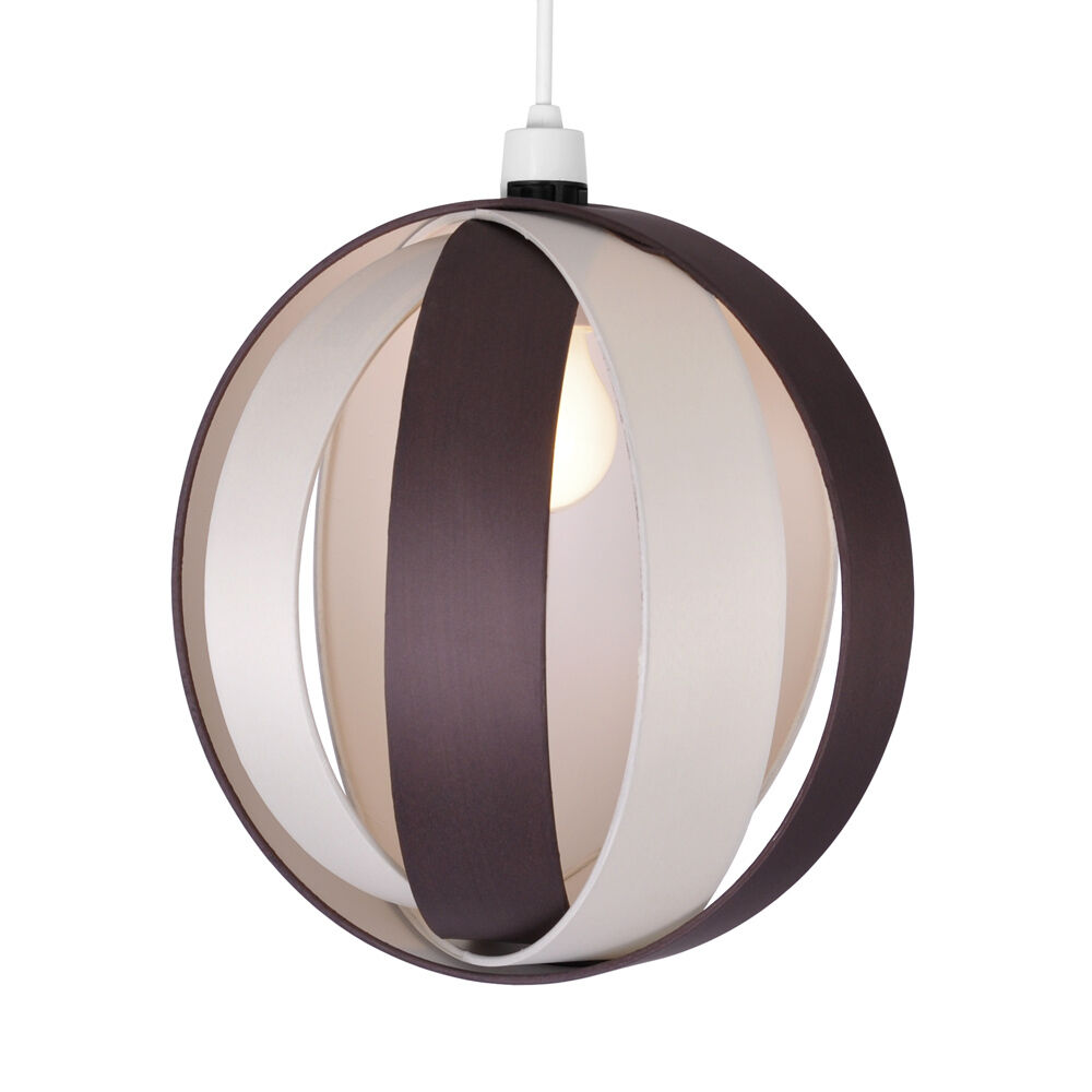 Hanging Light Round: Modern Round Cream & Brown Fabric Ceiling Light Pendant