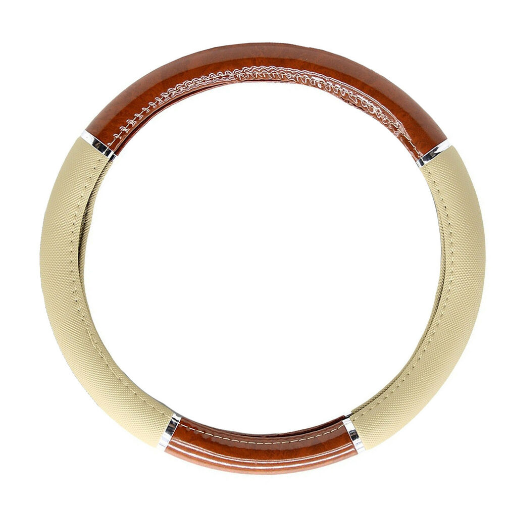 new tan beige synthetic leather faux wood car truck van steering wheel cover ebay. Black Bedroom Furniture Sets. Home Design Ideas