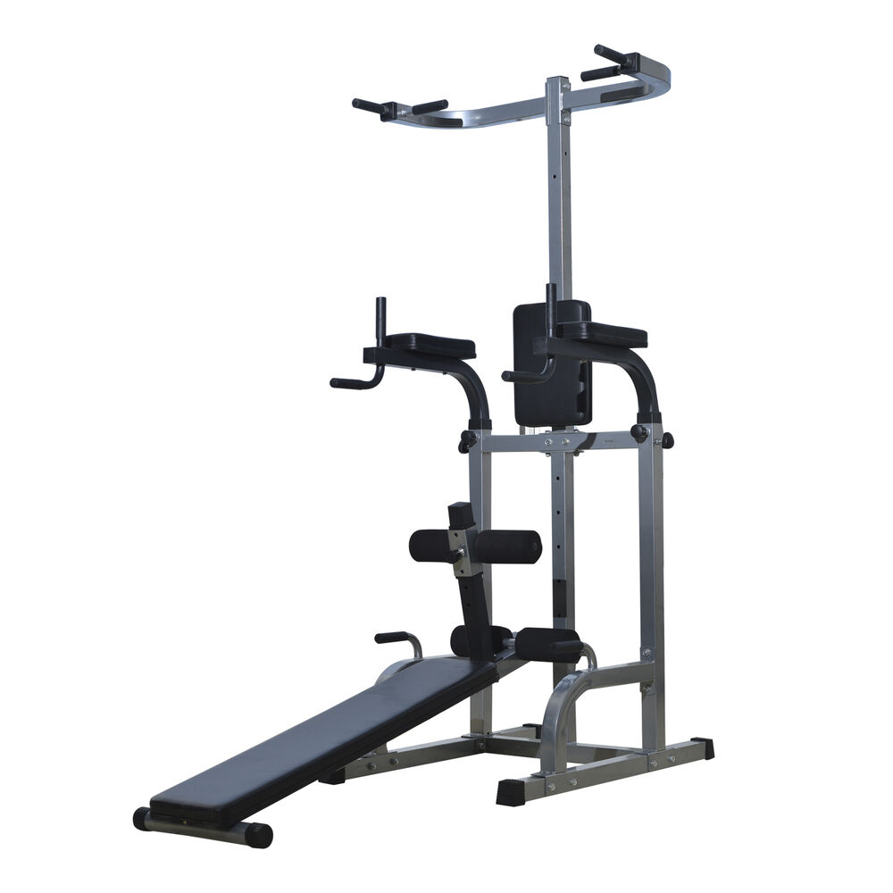 Home Gym Workout Strength Fitness Training Power Tower Dip Station Weight Bench Ebay