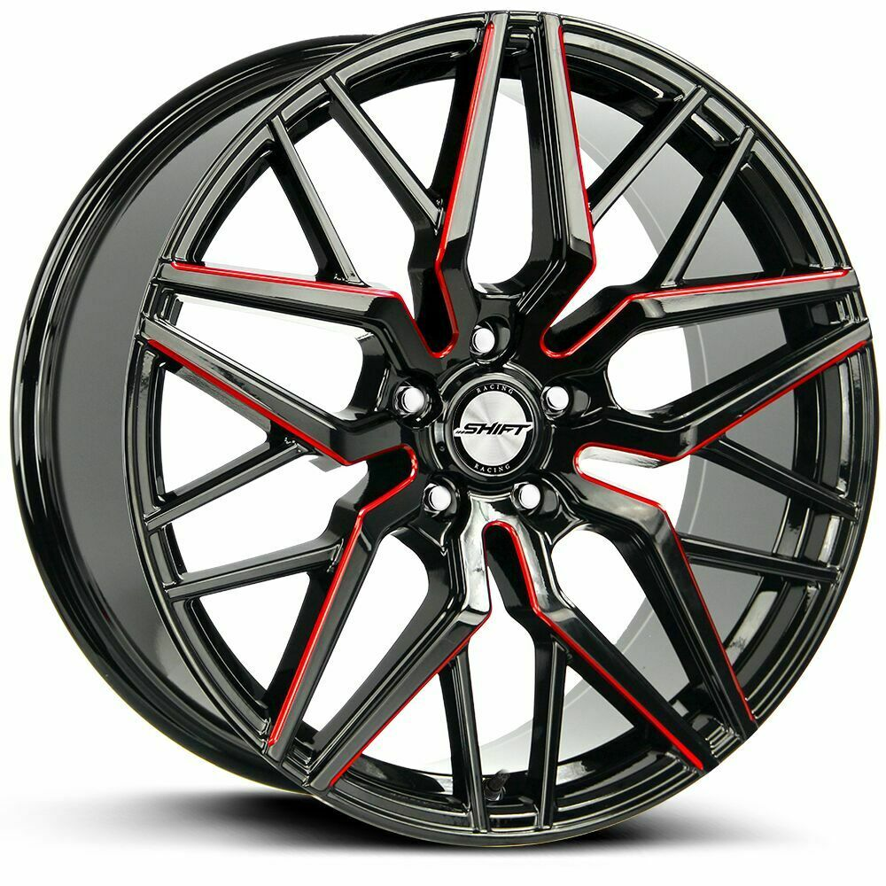 18 inch gline 820 red black trim wheel rims tires fit 5 x 114 3 ebay. Black Bedroom Furniture Sets. Home Design Ideas