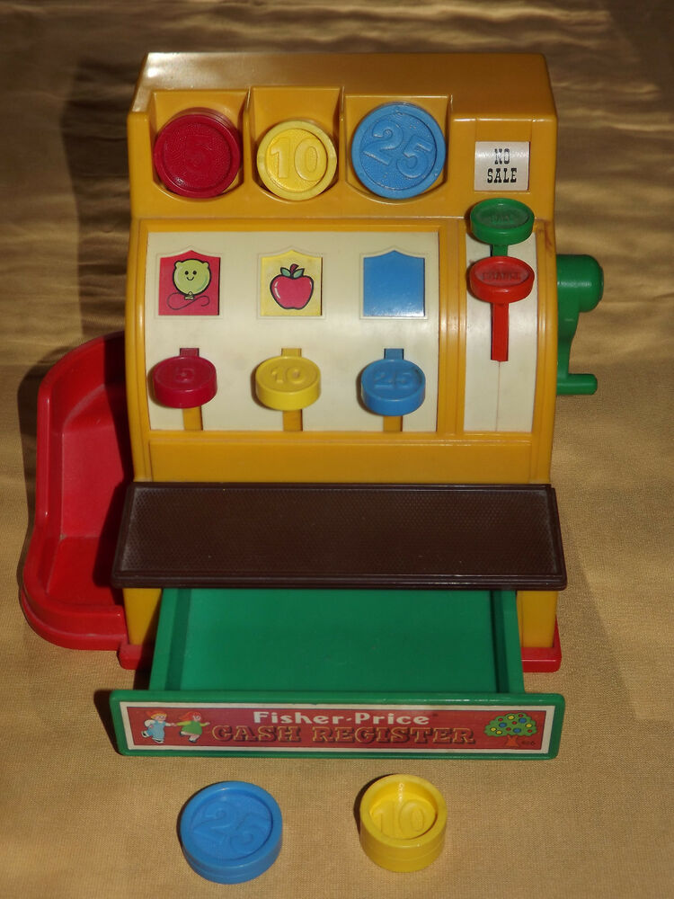 vintage old toy 1974 fisher price toys play cash register ebay. Black Bedroom Furniture Sets. Home Design Ideas