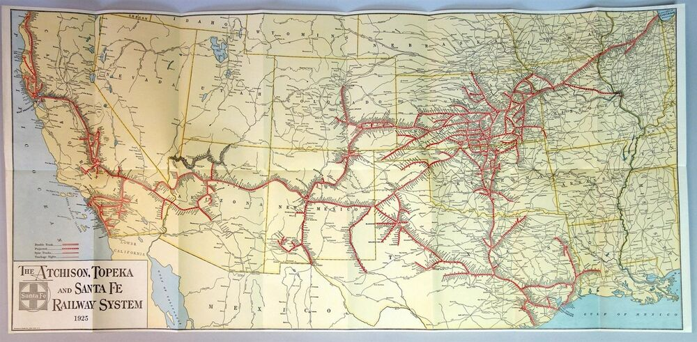 1925 Map Of The Atchison Topeka Amp Santa Fe Railway System