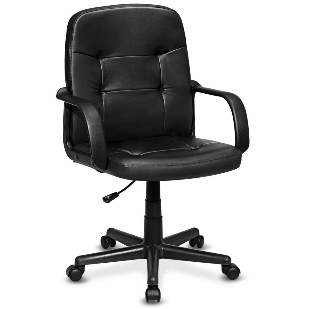 Pu leather ergonomic midback executive computer best desk for Best office desk chairs