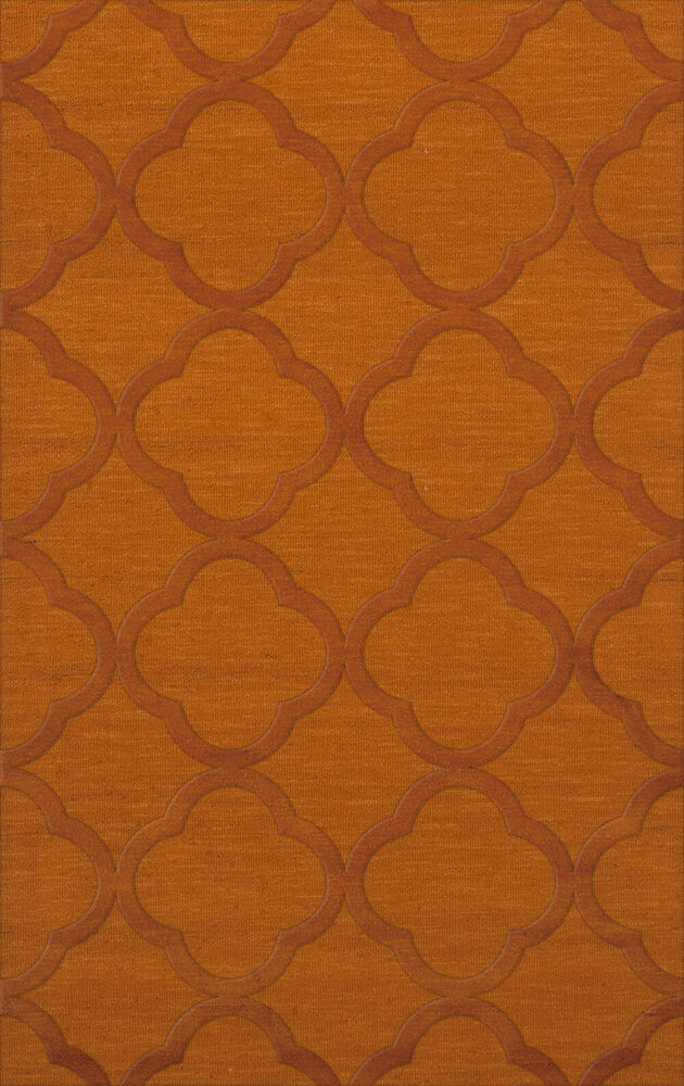 Dalyn geometric orange quaterfoil wool hand hooked for What size rug for 12x12 room