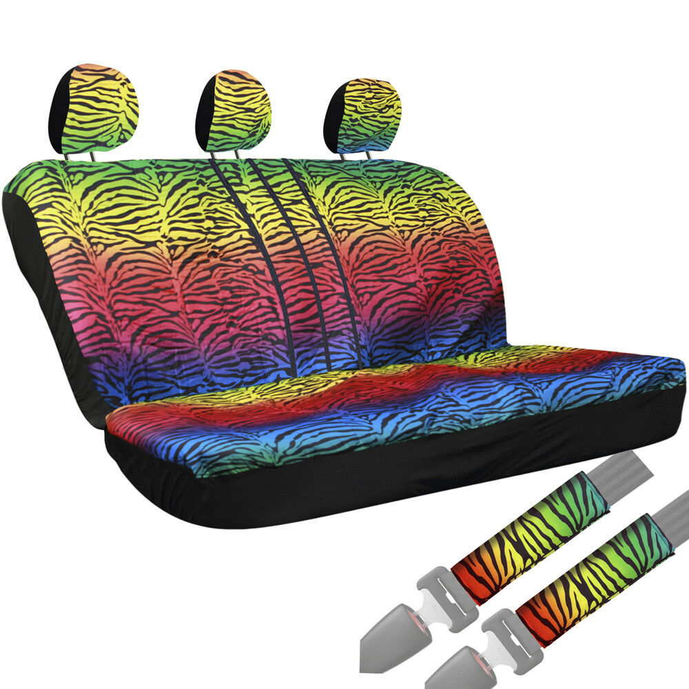 8pc zebra stripes rainbow animal print front rear bench row truck seat cover 2a ebay. Black Bedroom Furniture Sets. Home Design Ideas
