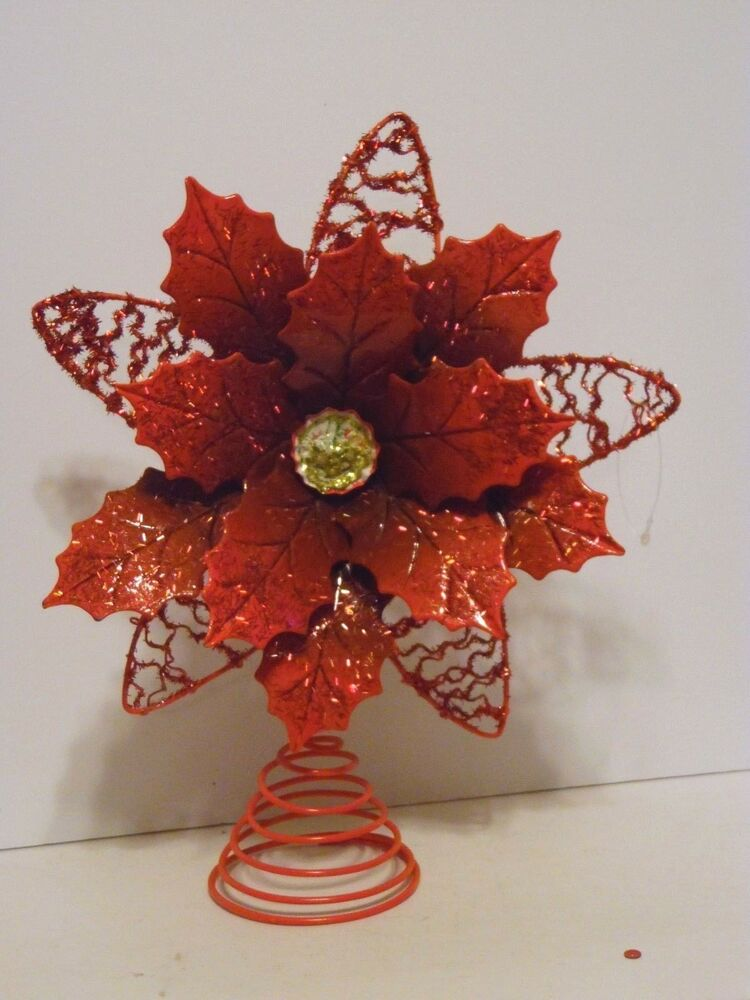 10 5 Inch Metal Red Poinsettia Tree Topper Christmas Holiday Decorations Ebay