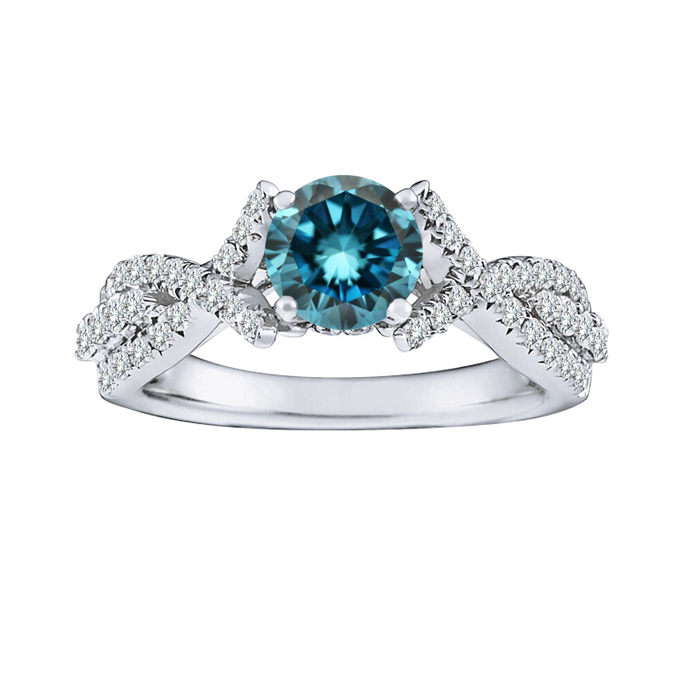 1 Carat Blue Round Diamond Solitaire Halo Fancy Bridal Ring 14K White Gold AS