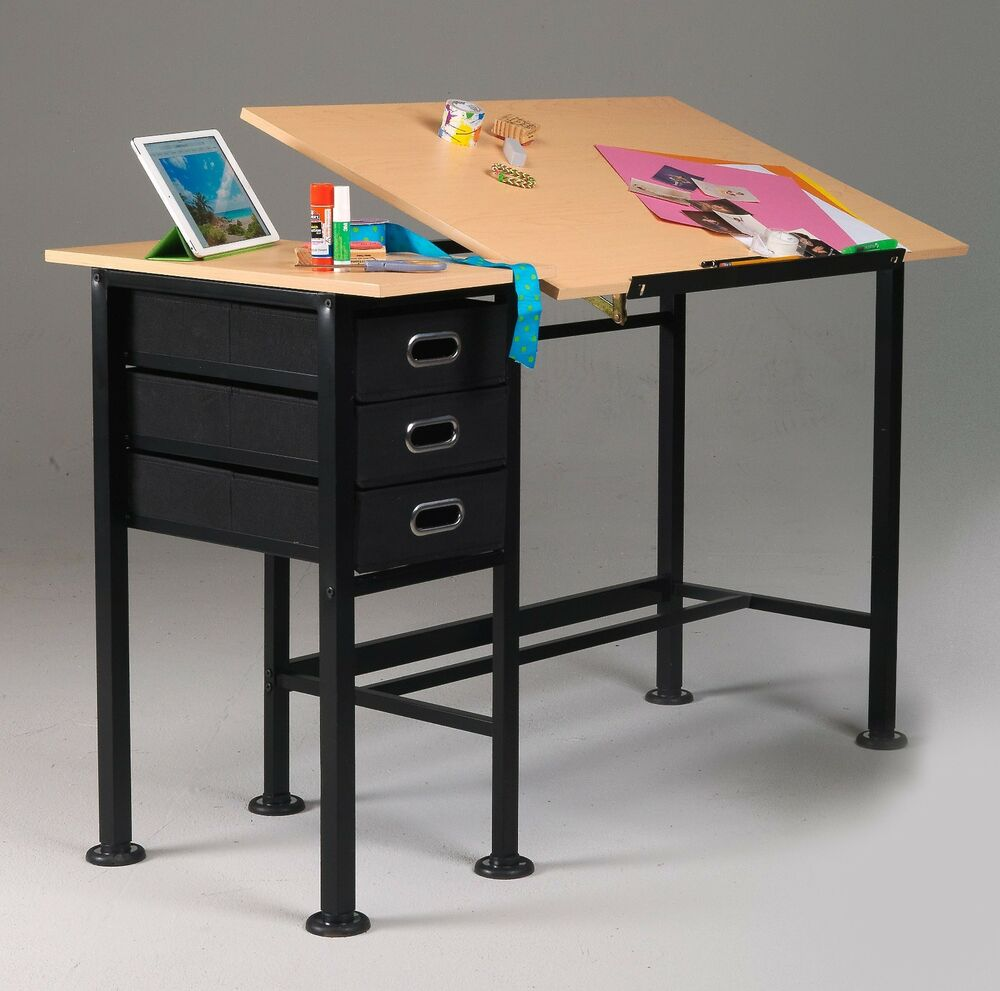 Black SPLIT TOP Table & Desk w 3 Drawer Taboret