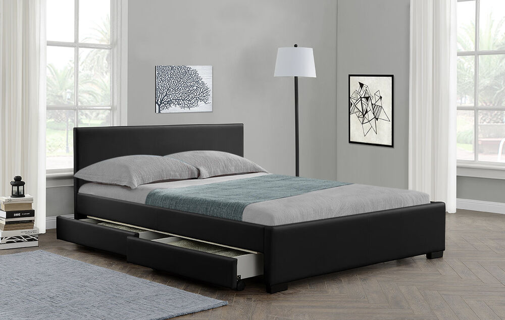 4 drawers storage double bed or king size faux leather for Double bed with drawers and mattress