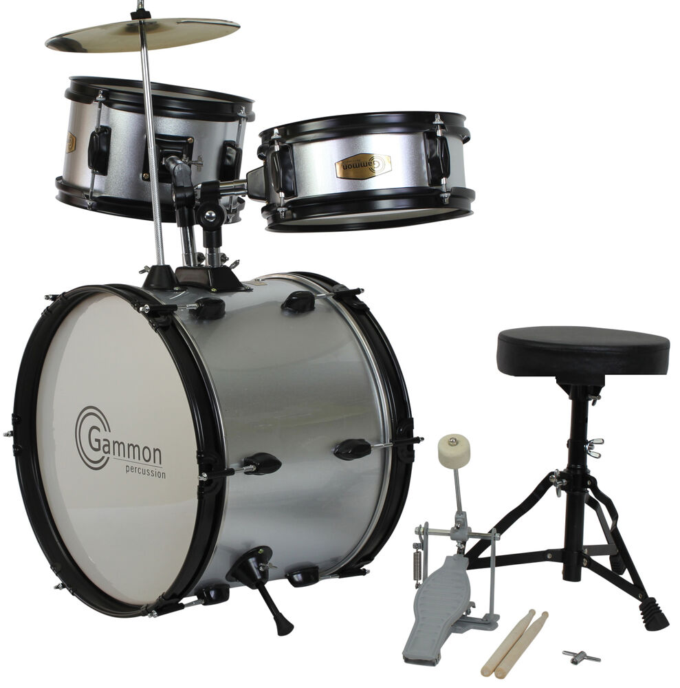 New Silver Drum Set Junior Children S Complete Child Kids