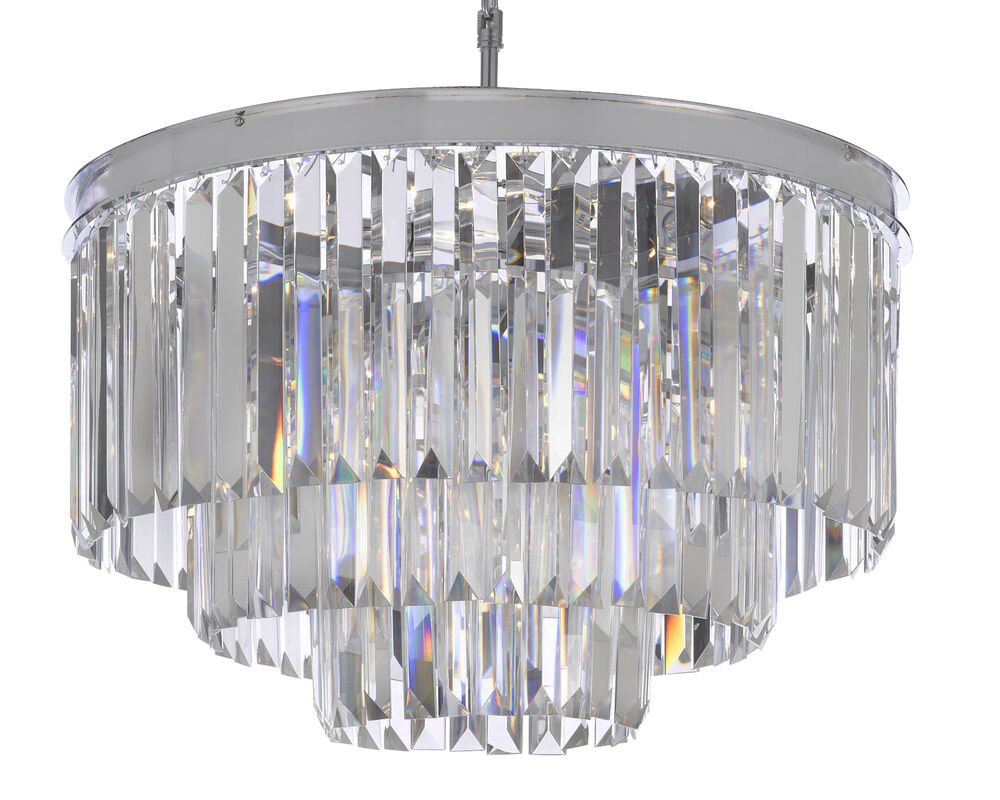 Odeon Empress Crystal 3 Tier Flush Chandelier Chrome