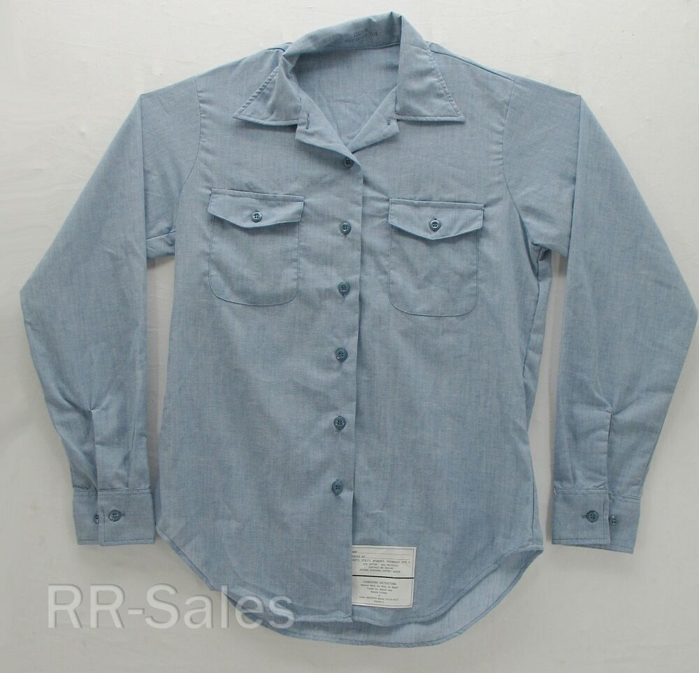 Chambray navy women 39 s utility work shirt long sleeve us for Blue chambray shirt women s