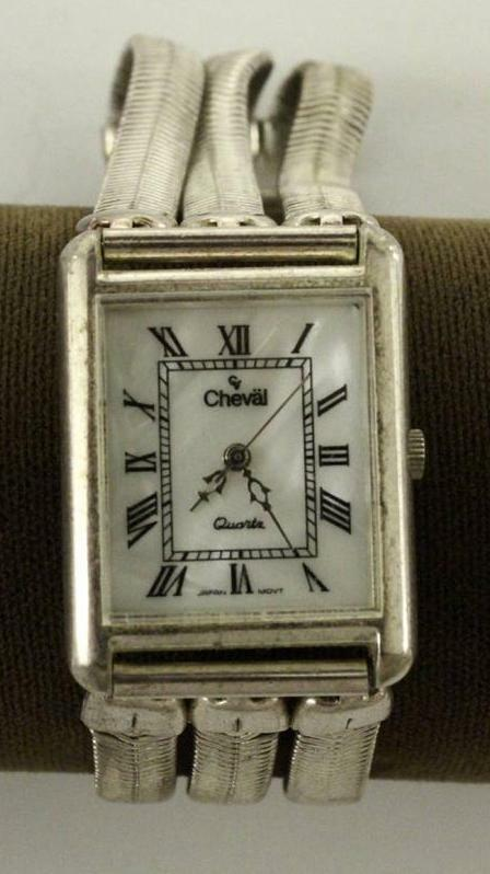 Costume Jewelry Quartz CHEVAL Watch Ladies Silver Tone Metal Triple Bracelet | eBay & Costume Jewelry Quartz CHEVAL Watch Ladies Silver Tone Metal Triple ...
