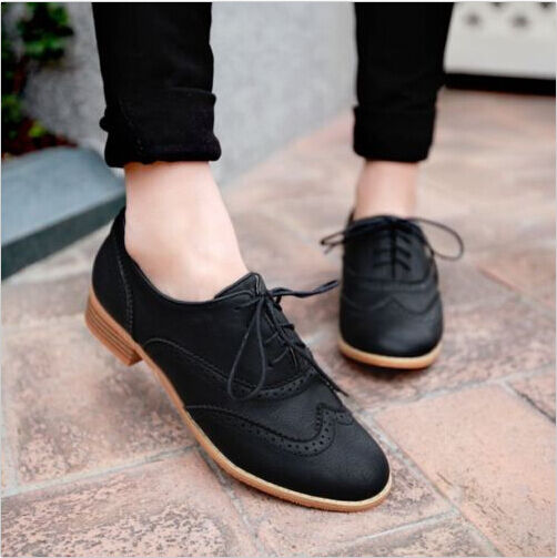 Brogue Women Lace Up Wing Tip Oxford College Style Flat Fashion Shoes Big Size Ebay